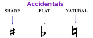 Accidentals sharp flat natural