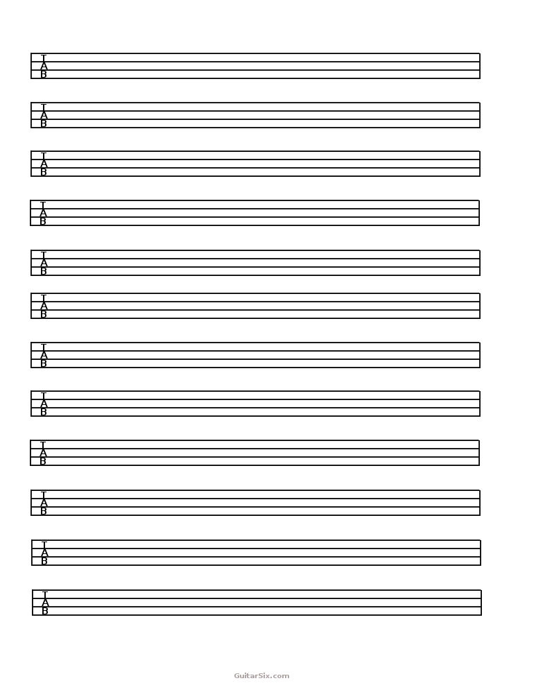Bass Guitar Tab Paper