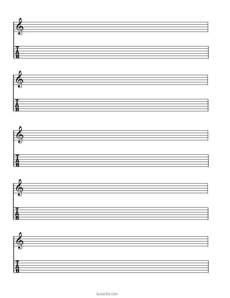 guitar tab and treble clef staff paper