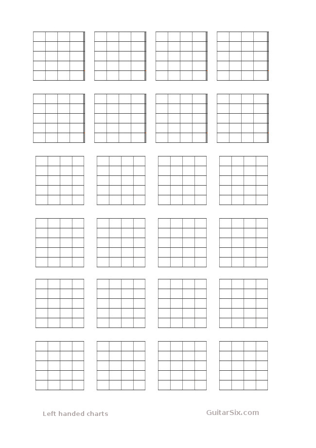 Left Handed Guitar Chord Chart Paper