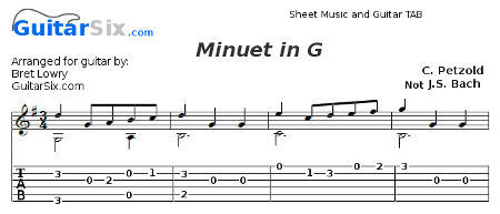 minuet in g for guitar