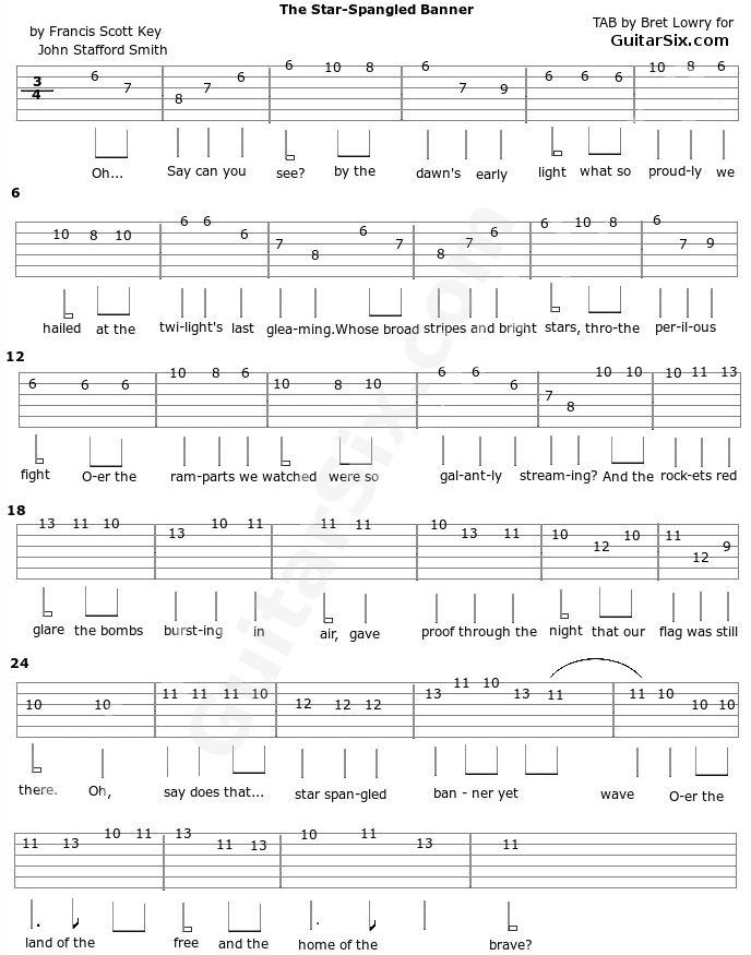 The star spangled banner guitar tab